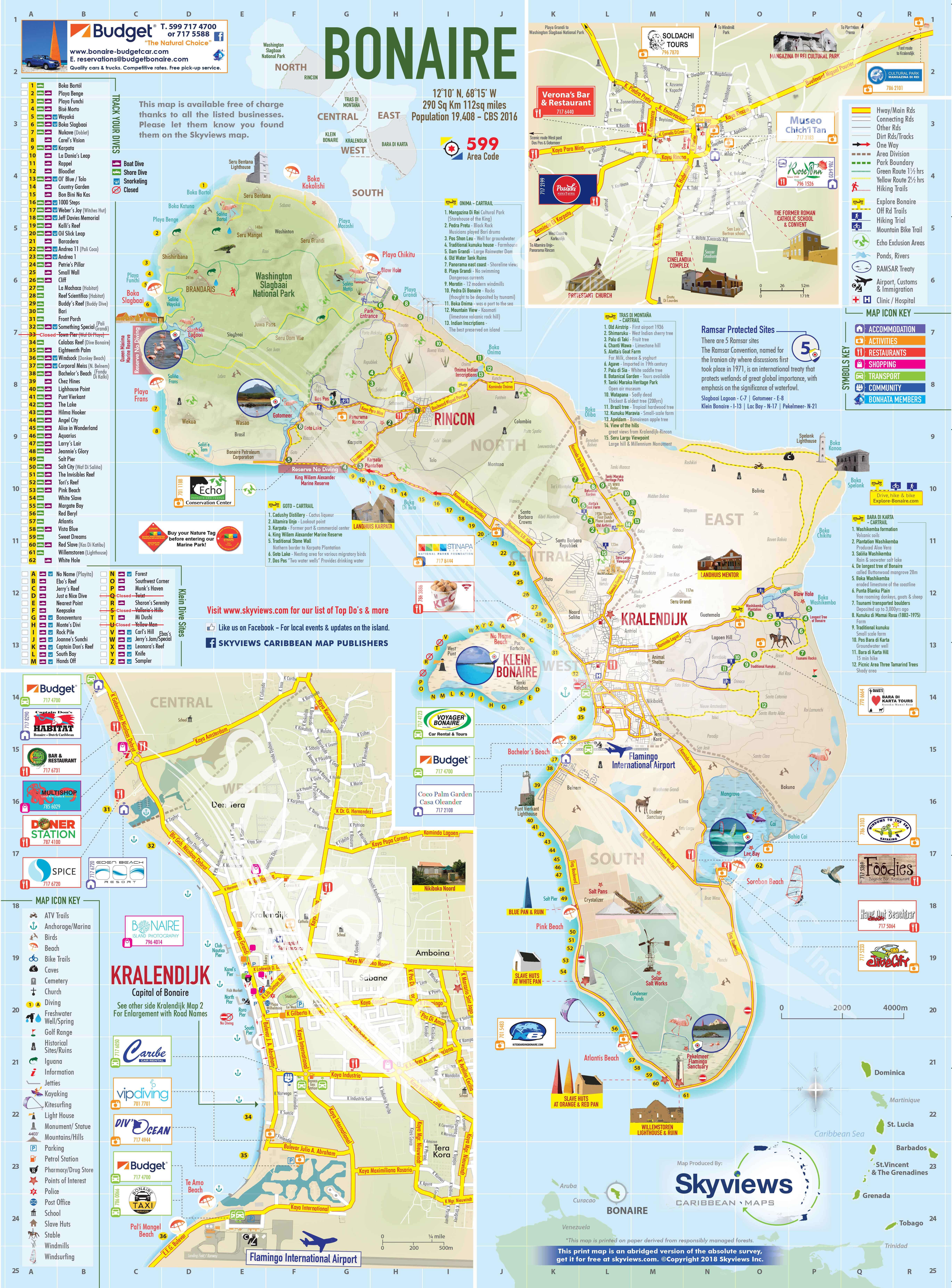 Map of Bonaire - Caribbean Islands Maps and Guides Designated Marketing Area Map on