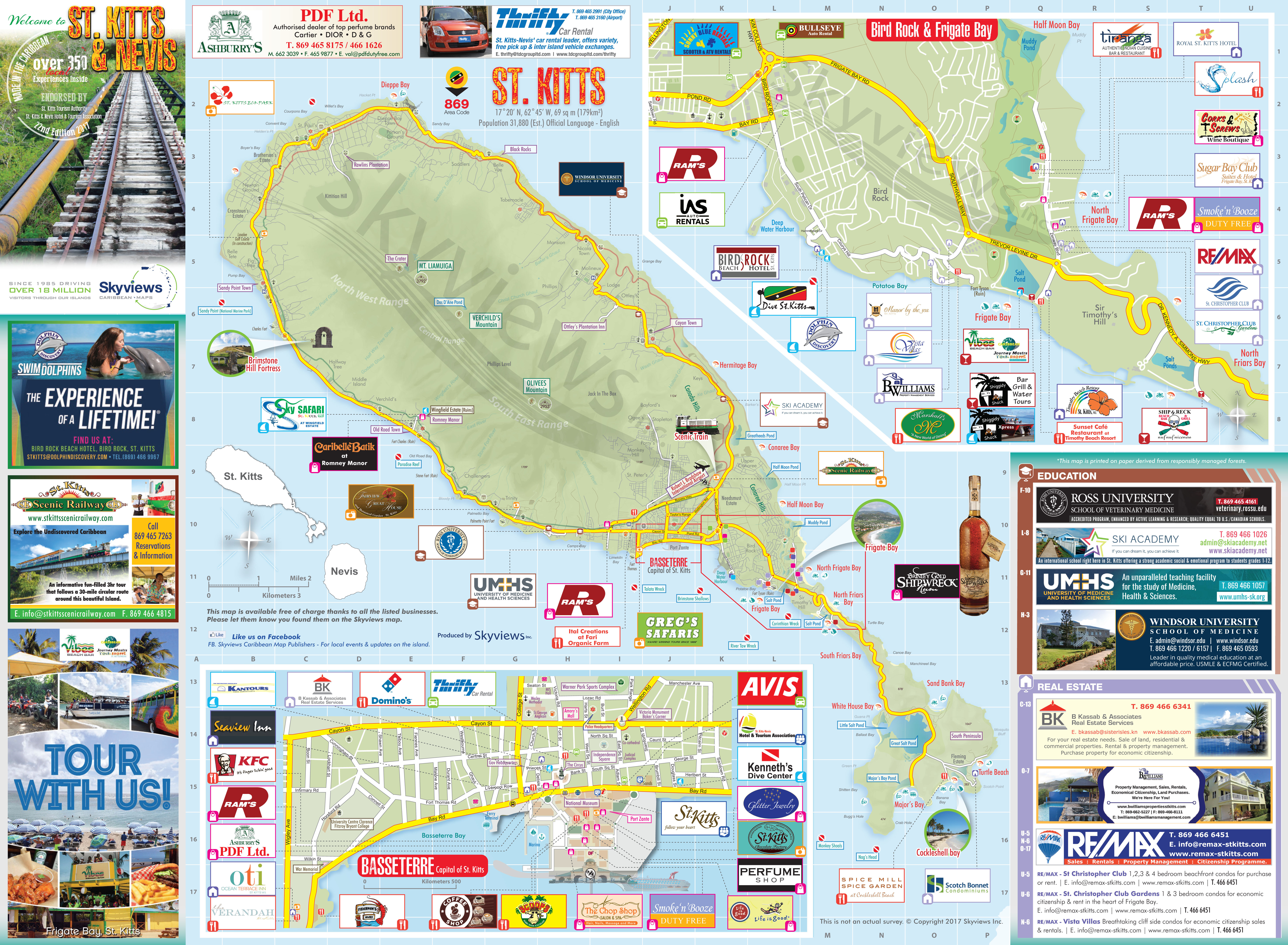 Map of St Kitts Nevis Caribbean Islands Maps and Guides