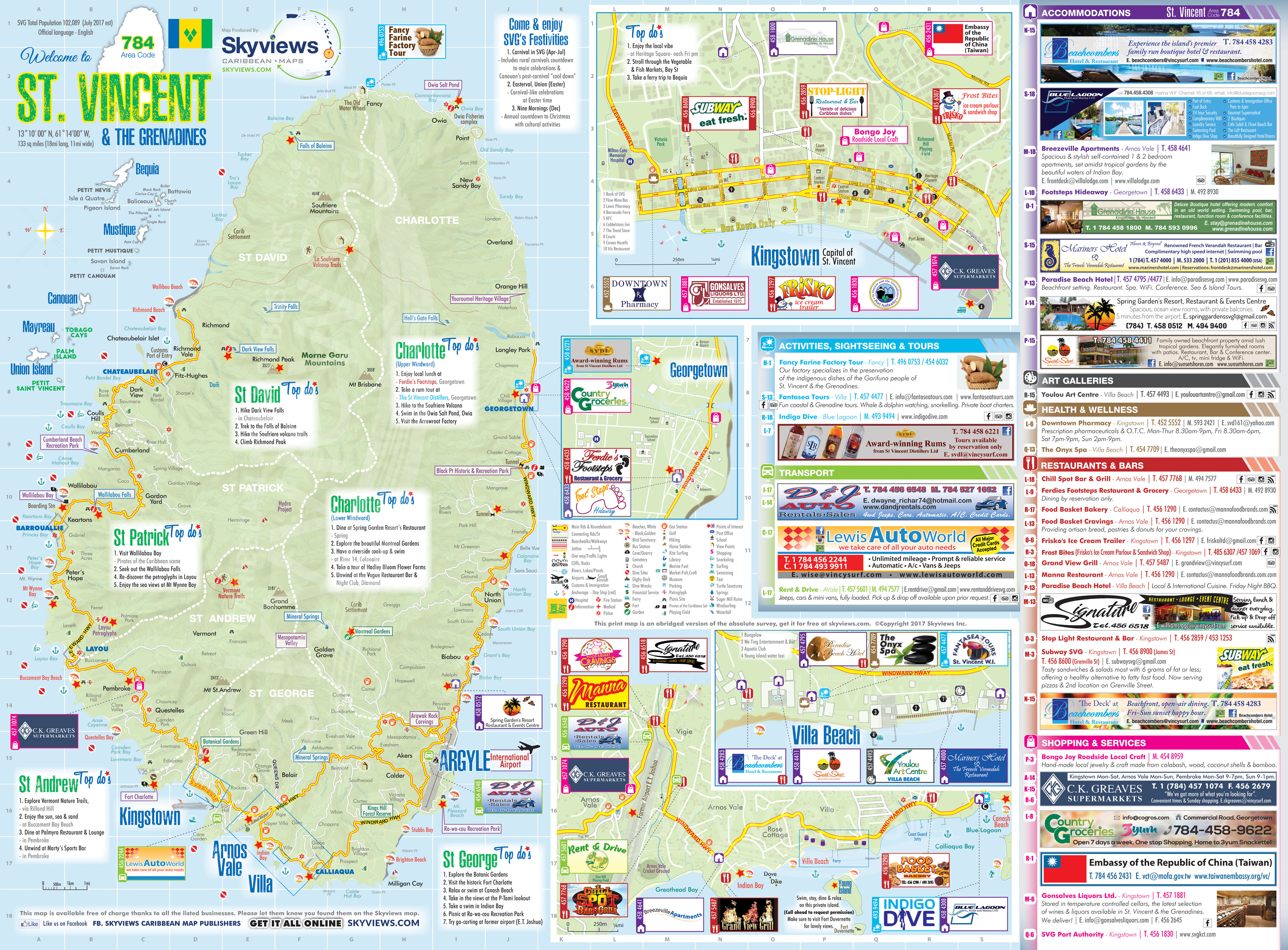 Map of St. Vincent & The Grenadines - Caribbean Islands Maps and Guides